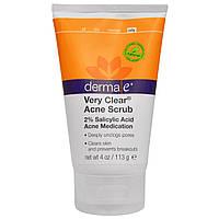 Derma E, Very Clear Acne Scrub, 2% Salicylic Acid & Anti-Blemish Complex, 4 oz (113 g)