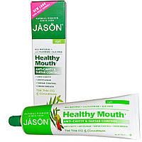 Jason Natural, «Здоровый рот», гель для профилактики кариеса и зубного камня с маслом чайного дерева и корицей, 6 унций (170 г)