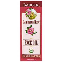 Badger Company, Противоокислительное масло для лица, дамасская роза с лавандой и ромашкой, 1 жидкая унция (29.5 мл)
