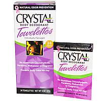 """Crystal Body Deodorant, Влажные салфетки-дезодарант """"Кристальное тело"""", 24 влажных салфеток, 4 г (0,1 унции) каждая"""