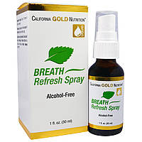 California Gold Nutrition, Спрей-освежитель полости рта с запахом мяты, Не содержит алкоголя, 1 жидкая унция (30 мл)