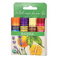Badger Company, Органические классические карандаши-бальзам для губ, зеленая коробка, 4 карандаша с бальзамом для губ, 0,15 унции (4,2 г) каждый