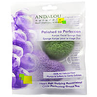 Andalou Naturals, Губка для лица конняку Polished to Perfection, упаковка из 2 шт.