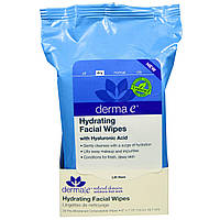 Derma E, Увлажняющие салфетки для лица, 25 влажных биоразлагаемых салфеток