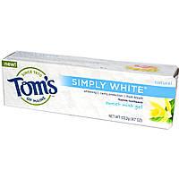 Tom's of Maine, Simply White, отбеливающая зубная паста с фтором, гель со вкусом сладкой мяты, 4,7 унции (133,2 г)