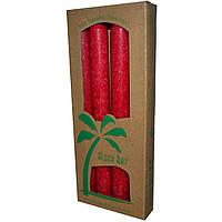 Aloha Bay, Свечи из пальмового воска, без запаха, красные, 4 шт., длина 9 дюймов (23 см)