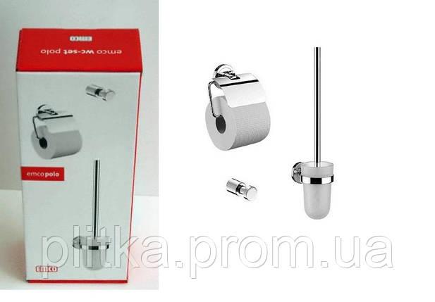 Комплект (Держатель туалетной бумаги +держатель ершика+ крючок ) Emco Polo 0798 001 00, фото 2