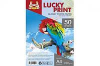 Глянцевая фотобумага Lucky Print (А4, 230 гр.), 50 листов для Epson WorkForce Pro WF-4630