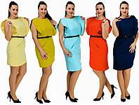 Летнее платье с поясом. 5 цветов. Р-ры: от 42 до 54.