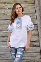 Женская вышиванка с коротким рукавом из льна