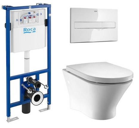 Комплект: NEXO унитаз подвесной, сиденье твердое slow-closing, PRO инсталляция для унитаза, PRO кнопка белая, фото 2