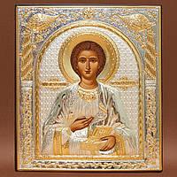 Пантелеймон икона 108 мм х 121 мм серебряная с позолотой
