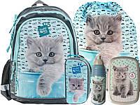 Рюкзак школьный с кошкой, комплект 5 шт.