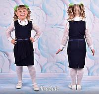 Нарядный сарафан для девочки школьный черный, синий, ткань поливискоза