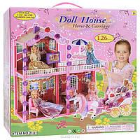 """Кукольный дом для барби  """"Doll House"""", с лошадью и каретой, 126 элементов."""