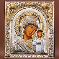 Казанская Божья Матерь в славянском стиле икона 208 мм х 245 мм серебряная с позолотой.