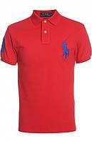 Стильная мужская футболка Polo Ralph Lauren красная Размер ХЛ