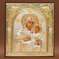 Икона Божией Матери Вифлиемская 155 мм х 180 мм серебряная с позолотой.