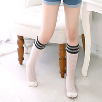 Гольфы - гетры ажурные для девочки белые с черно-серой резинкой, фото 1