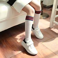Гольфы - гетры ажурные для девочки белые с сине-красной резинкой, фото 1