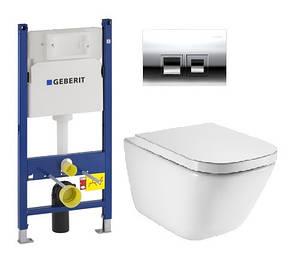 Комплект: GAP Clean Rim подвесной унитаз с сиденьем slow-closing,Geberit Duofix, клавиша Delta 50 х, фото 2