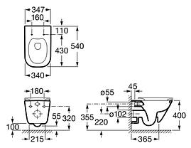 Комплект: GAP Clean Rim подвесной унитаз с сиденьем slow-closing,Geberit Duofix, клавиша Delta 50 х, фото 3