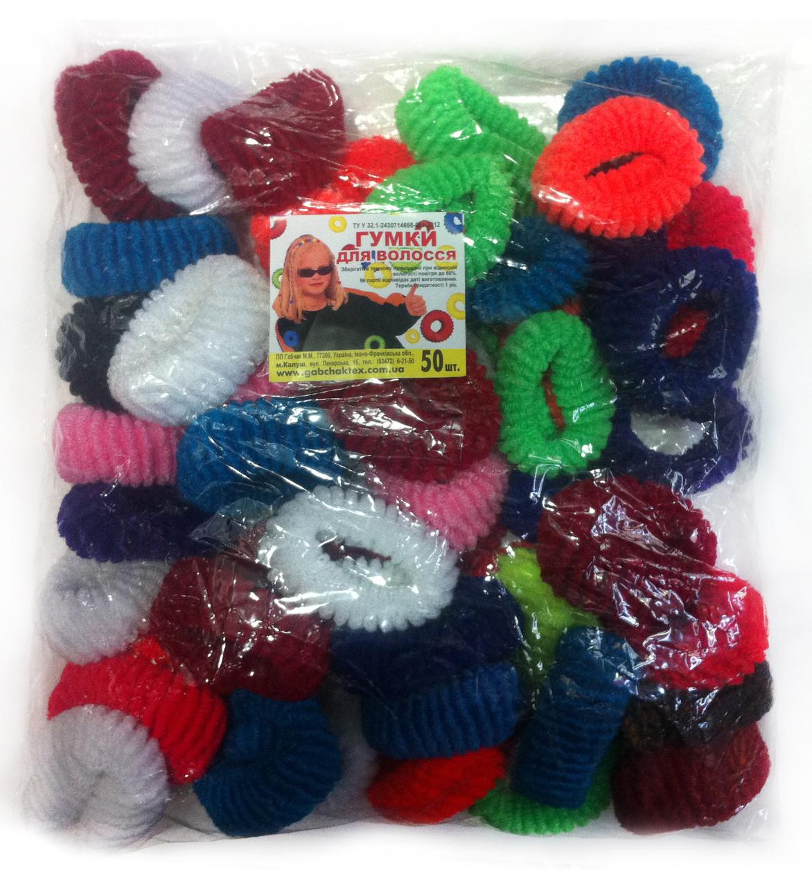 Резинки для волос цветные 50 шт., (55 мм)