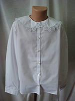 Классическая блузка для девочки с длинным рукавом белая 140 (ІІ полнота)