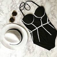 Купальник женский слитный корсетный черный с контрастными полосками, фото 1