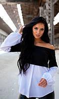 Блуза со спущенными плечами черная