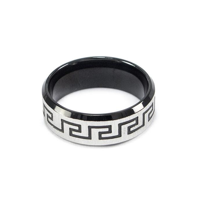 Кольцо с греческим узором черное Арт. RN033SL (17)