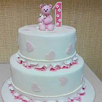 Детский торт с мишкой  для девочки на годик