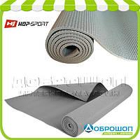 Коврик для йоги и фитнеса PVC HOP-SPORT 5мм, серый