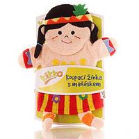 Мочалка-рукавичка хлопок ХККО Маленькая индианка