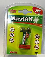 Акб крона MastAK 6F22/1bl 250 mAh  8,4V MH