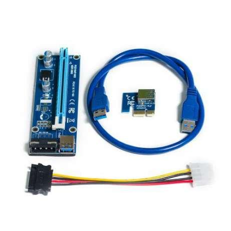 Райзер PCI-E 1X - 16X, USB 3.0 кабель 60см, питание 4 pin