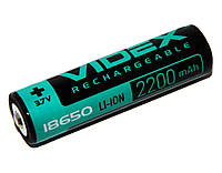 Аккумулятор 18650, 2200 mAh, Videx, 1 шт, Li-ion, с защитой, блистер, перезаряжаемая батарейка
