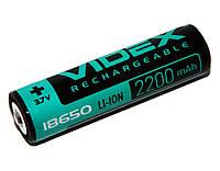 Перезаряжаемая батарейка (аккумулятор) 18650, 2200 mAh, Videx, 1 шт, Li-ion, с защитой, блистер