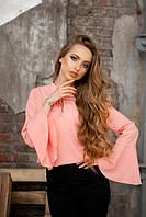 Блуза с расклешенными рукавами персиковая