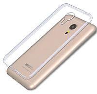Обложка - чехол силиконовая для телефона Meizu M3 Note прозрачный