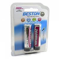Перезаряжаемая батарейка (аккумулятор) 18650, 2600 mAh, Beston, 2 шт, Li-ion, блистер (AAB1821)
