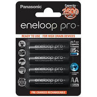 Аккумулятор AA, 2500 mAh, Panasonic Eneloop Pro, 4 шт, 1.2V, Blister, ресурс - 500 циклов заряда! (BK-3HCDE/4BE), перезаряжаемая батарейка