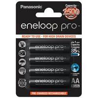 Перезаряжаемая батарейка (аккумулятор) AA, 2500 mAh, Panasonic Eneloop Pro, 4 шт, 1.2V, Blister, ресурс - 500 циклов заряда! (BK-3HCDE/4BE)