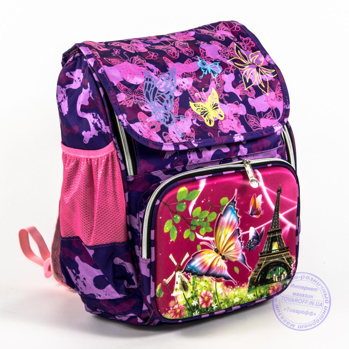 Школьный рюкзак для девочки с жесткой спинкой и 3Д рисунком - фиолетовый - 125