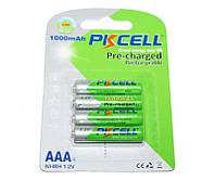 Перезаряжаемая батарейка (аккумулятор) AAA, 1000 mAh, PKCELL, 4 шт, 1.2V,  Already Charged , Blister