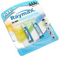 Перезаряжаемая батарейка (аккумулятор) AAA, 1000 mAh, Raymax, 2 шт, 1.2V, Blister