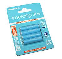 Перезаряжаемая батарейка (аккумулятор) AAA, 550 mAh, Panasonic Eneloop Lite, 4 шт, 1.2V, Blister, ресурс - 3000 циклов заряда! (BK-4LCCE/4BE)