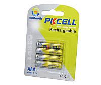 Перезаряжаемая батарейка (аккумулятор) AAA, 600 mAh, PKCELL, 4 шт, 1.2V, Already Charged, Blister (545367)