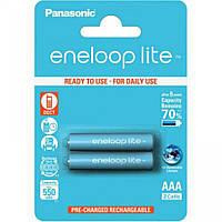 Перезаряжаемая батарейка (аккумулятор) AAA, 550 mAh, Panasonic Eneloop Lite, 2 шт, 1.2V, Blister, ресурс - 3000 циклов заряда! (BK-4LCCE/2BE)