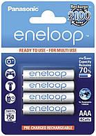 Перезаряжаемая батарейка (аккумулятор) AAA, 750 mAh, Panasonic Eneloop, 4 шт, 1.2V, Blister, ресурс - 2100 циклов заряда! (BK-4MCСE/4BE)